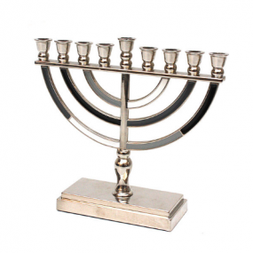 Metal Menorah - Grey/Black