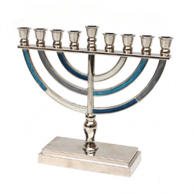 Metal Menorah - Blue