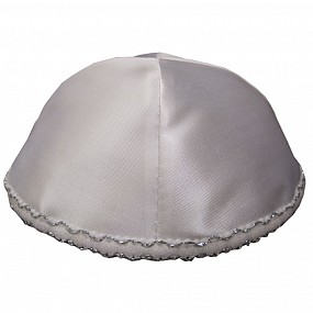 White Satin Kippah with four sections and lace trim