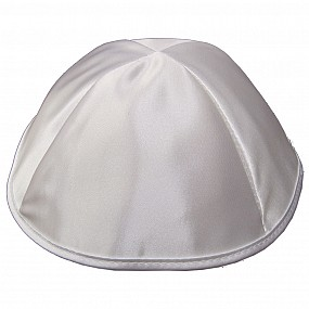 White Satin Kippah with four Sections