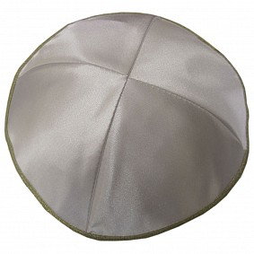 White Satin Kippah with four sections and gold rim