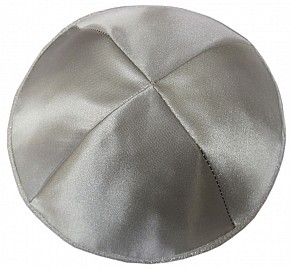 Grey Satin Kippah with four sections and Silver trim