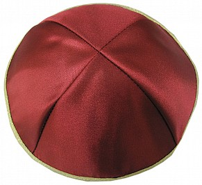 Red Satin Kippah with Four sections and Gold Rim