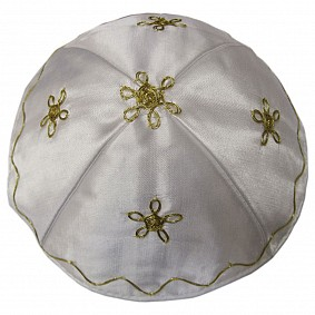 High quality white satin kippah - gold embroidery