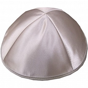 Silver Satin Kippah with four sections