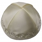 Cream Satin Kippah with four sections and Silver design