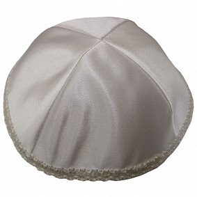 Cream Satin Kippah -  lace around the rim