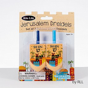 Set of 2 Jerusalem Painted Wood Dreidels