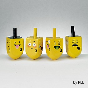 Emoji Wood Dreidels - set of 4
