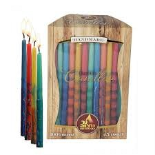 Chanukah candles BEESWAX - multicoloured