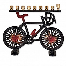 Bicycle Menorah - Black and Red