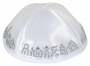 White Satin Jerusalem scenery kippah