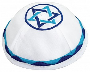 White Satin Kippah with Star of David embroidery in blue colours