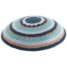 Knitted kippah - colourful circles