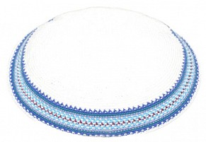 white knitted kippah - colourful trim