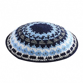 Knitted kippah - mix of blues and white