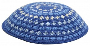 Knitted kippah - blues and white