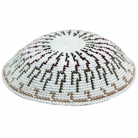 Knitted kippah - multi colurs on white base