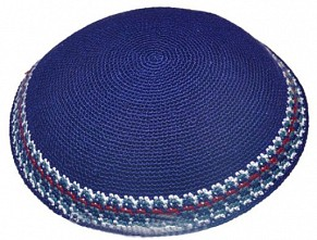 Navy knitted kippah - colourful trim