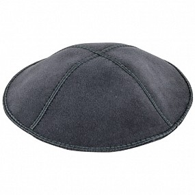 Dark grey suede kippah