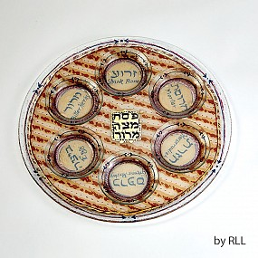 Glass seder plate - Matzah look