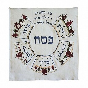 Raw Silk 'Sederplate' Matzah cover