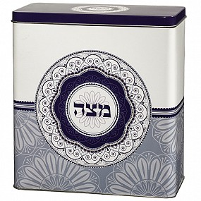 Tin Matzah Box. Blues & White
