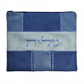 Faux leather tallit bag blue