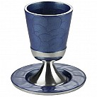 Kiddush Cup with Saucer  blue