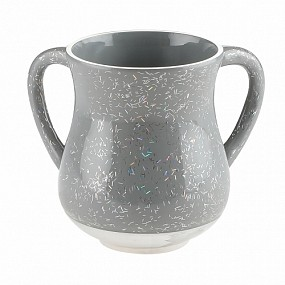 Aluminium Washing Cup Grey with Glitter Stripes
