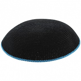 Navy knitted kippah with blue rim