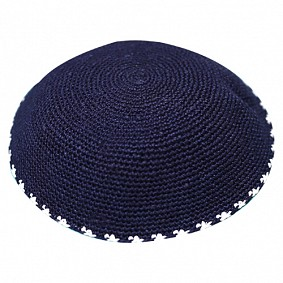 Navy knitted kippah with white dots
