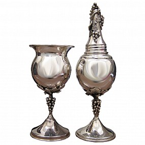 Sterling Silver Candle and Spice Holder Set - Grapevine Design