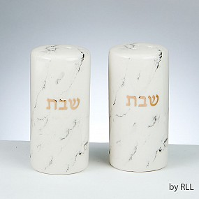 Shabbat Marble Salt/Pepper Cellars