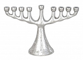 Sleek Contemporary Hammered Menorah
