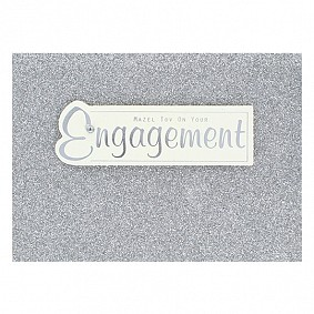 Mazel Tov On Your Engagement  (silver glitter)