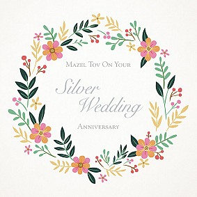 Mazel Tov on your Silver Wedding Anniversary Flower circle