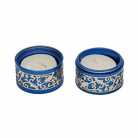 Travel Candlesticks Metal cut out Blue