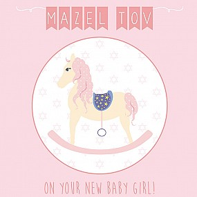 Mazel Tov on your new baby girl  (rocking horse)