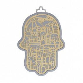 Emanuel Silver & gold Hamsa 17cm height