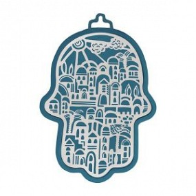 Emanuel Blue & silver Hamsa. 17cm height