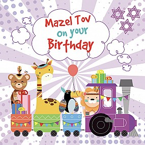 Mazel Tov on your birthday (animal train)