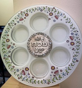 Milk White Glass Seder Plate with plaque