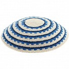 Cream and blues knitted Kippah