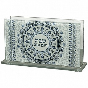 Large Glass Matchbox Holder - blue