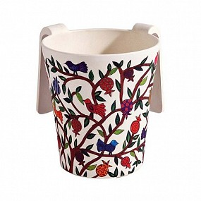 Bamboo Washing Cup Birds + Pomegranate Tree