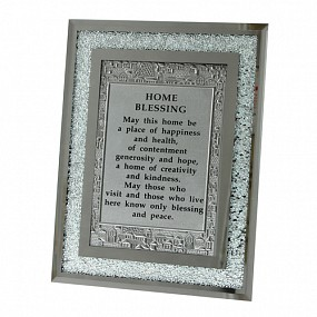 English Home Blessing - Glass Frame with stones