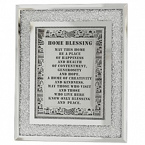 English Home Blessing - Glass Frame with decorative stones