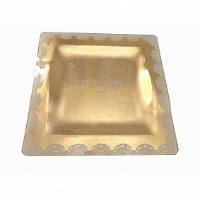 Glass Matzah Plate - Gold