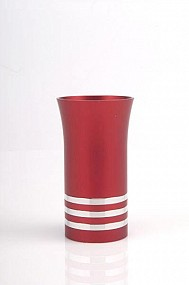 Agayof Kiddush Cup - red - with rings